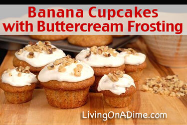Banana Cupcakes Recipe with Buttercream Frosting