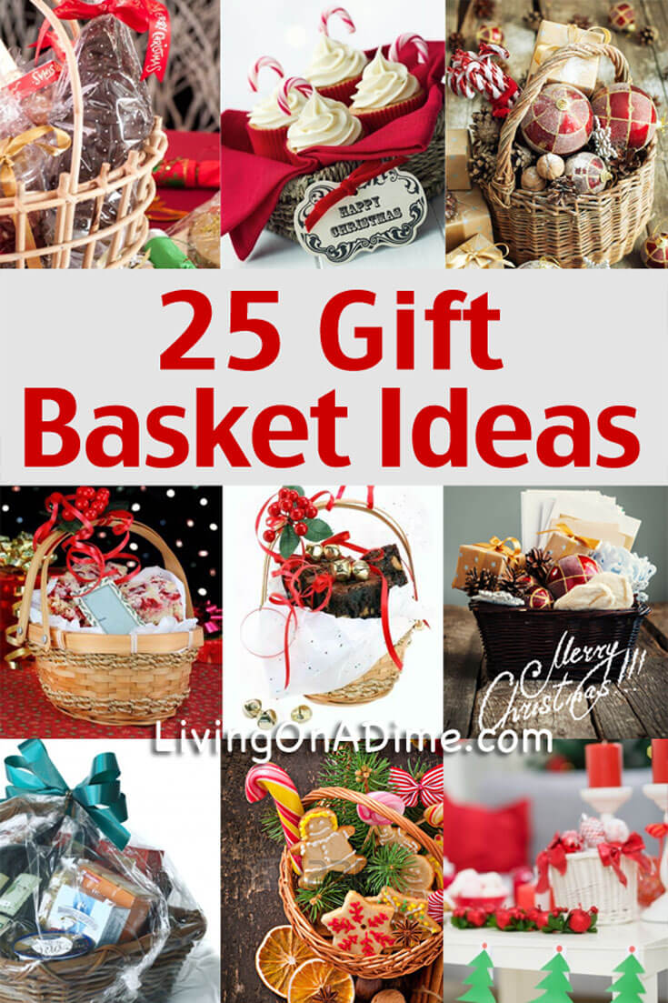 These 25 easy gift basket ideas are an inexpensive and tasteful way to make great holiday gift baskets. You'll find tips, specific themes and some easy jar mix recipes for great and inexpensive gifts!