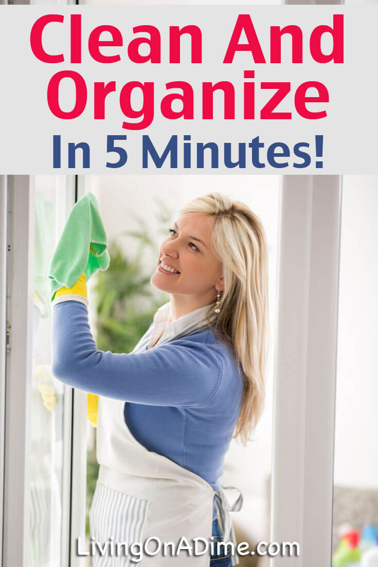 Using these tips, you can clean and organize your house 5 minutes at a time! You'll be surprised how much you can get done during time you already have!