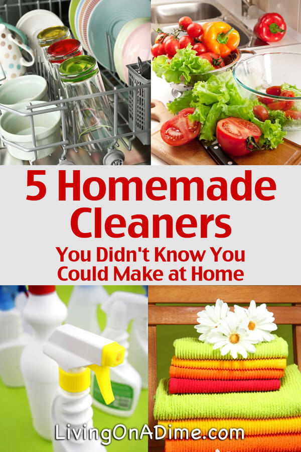 You can save a lot making easy homemade cleaners instead of buying the store bought kind. Here are 5 easy homemade cleaners recipes you didn't know you could make at home, most of which only use 3-5 ingredients you already have in your kitchen! Click here for the recipes!