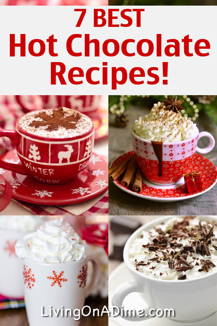 Here are 7 of the BEST homemade hot chocolate recipes that'll give you lots of yummy choices this time of year! Most of them also make easy gifts in a jar!