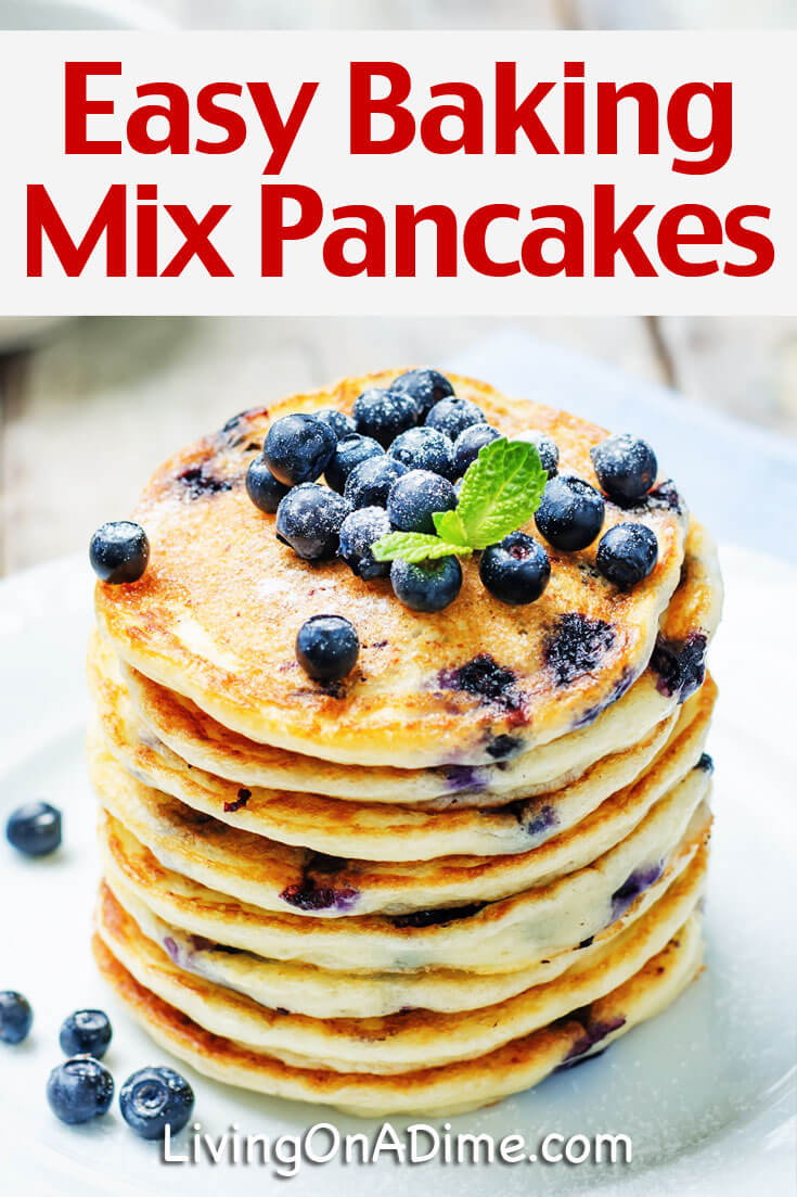 This easy baking mix pancakes recipe makes delicious pancakes in just minutes with our baking mix, bisquick or your favorite baking mix recipe.