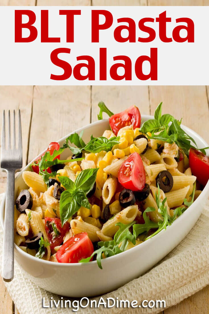 This BLT Pasta Salad recipe is easy and delicious! You'll also find a cool and delicious summer menu including a yummy Bing Cherry Dessert!