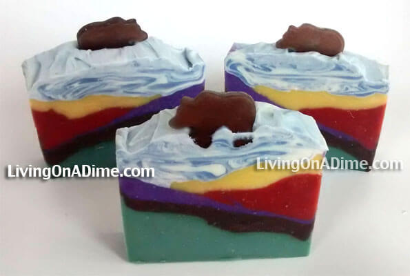 This is another one of my homemade mountain soaps. This was actually a mistake. I turned the mold the wrong way and so it didn't make the mountain like I thought it would. So we will just call it a The Grassy Foothills! LOL  This is another pretty advanced homemade soap to make so I wouldn't try it on your first try but it's fun to do after you get how to make lye soap down.
