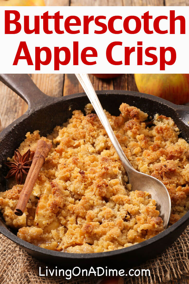 This butterscotch apple crisp recipe makes a delicious homemade apple crisp recipe that is quick and easy to make and mixes the taste of apple crisp with yummy butterscotch!