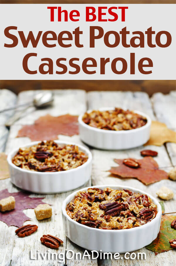 This sweet potato casserole recipe is the best ever! It is so quick and easy and makes a great dish for holiday dinners and potlucks. And it's easy to make the day before you need it and bake just before serving! Click here to try it!