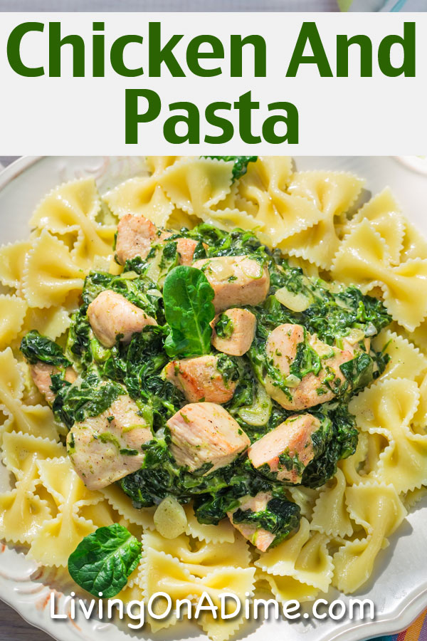 This chicken and pasta recipe makes a tasty meal, with chicken, pasta and spinach as the main ingredients.  You can use fresh garlic or garlic powder if you don't have fresh garlic on hand. Also if you don't have fresh spinach then you can use frozen spinach, just be sure to thaw and drain it well.  Gluten free pasta may be used as well for an easy gluten free main dish!