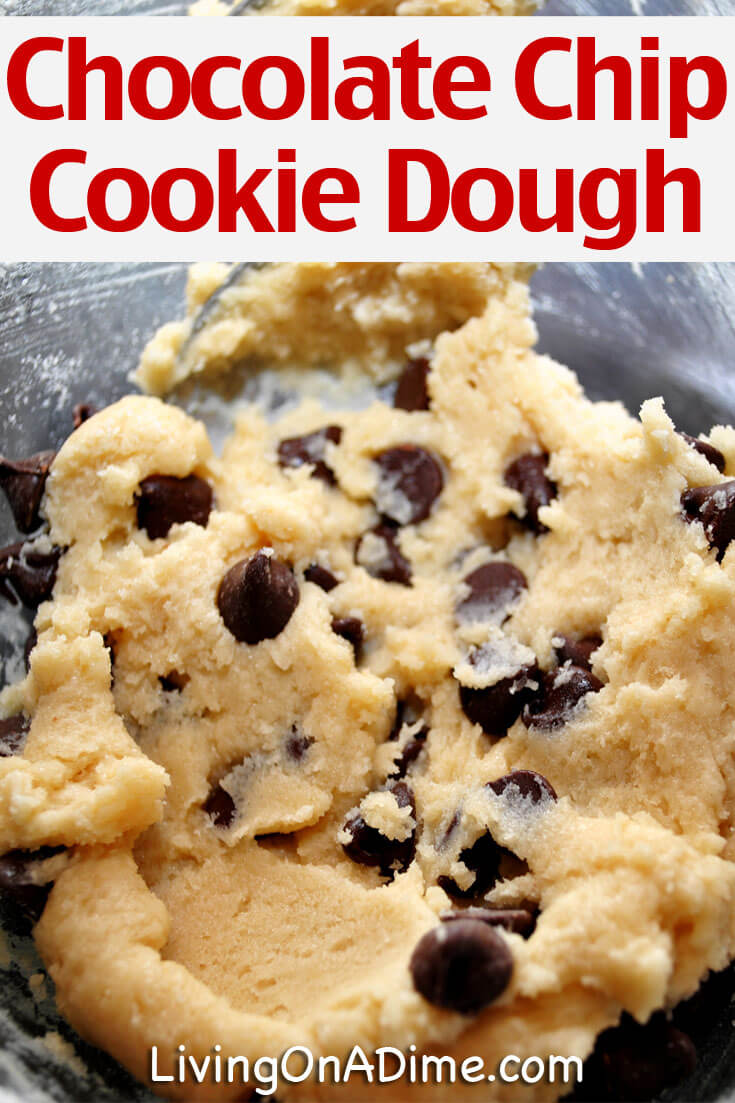 This chocolate chip cookie dough recipe makes a classic favorite cookie dough that you can eat as-is or add it to ice cream. It's super easy and safe to eat raw because there are no eggs!