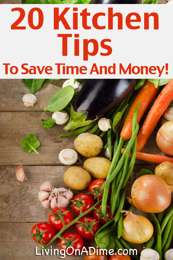 Here are 20 cooking ideas that will help you save time and money! You'll find easy tips for organizing your kitchen better, using leftovers and more.
