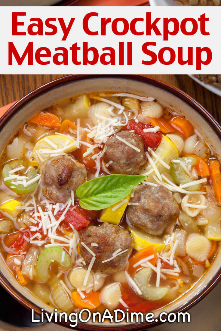 This easy crockpot meatball soup recipe makes a hearty meal great for busy days! Your family will love this comfort food recipe and you won't have to spend a lot of time in the kitchen! Win-Win!