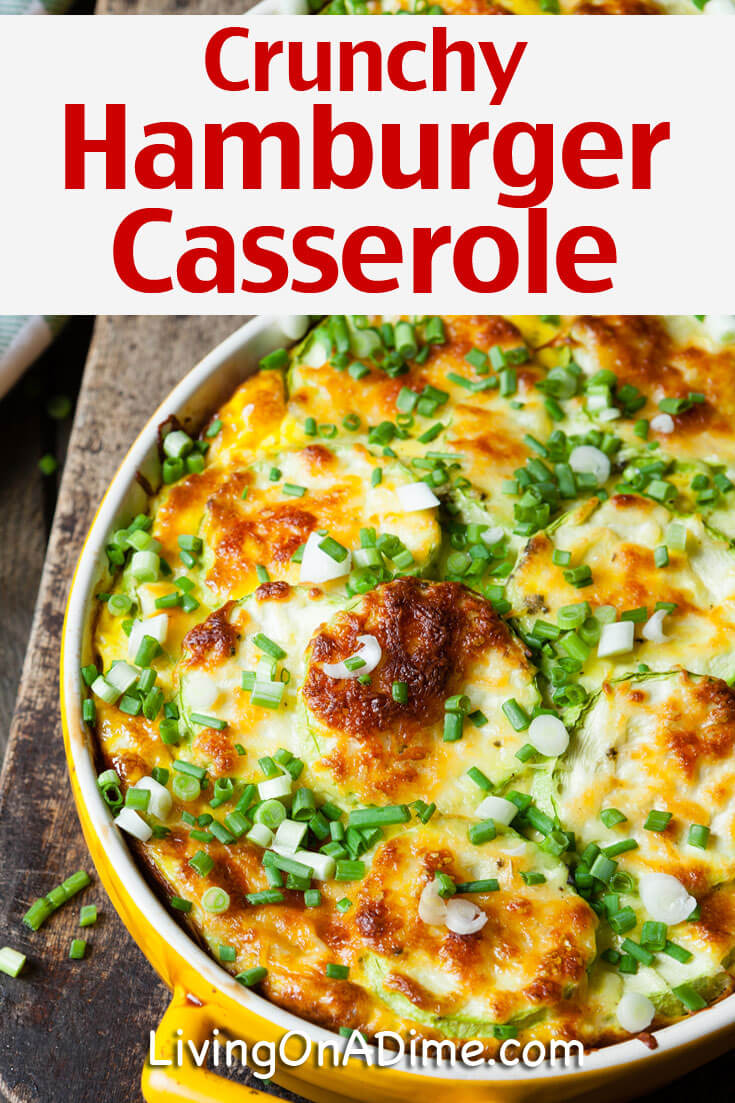 This super tasty crunchy hamburger casserole recipe makes an easy meal that takes just a few minutes to prepare. It's got a little different taste than a traditional hamburger casserole, so if you're looking for something a bit different that's really tasty, try this one!