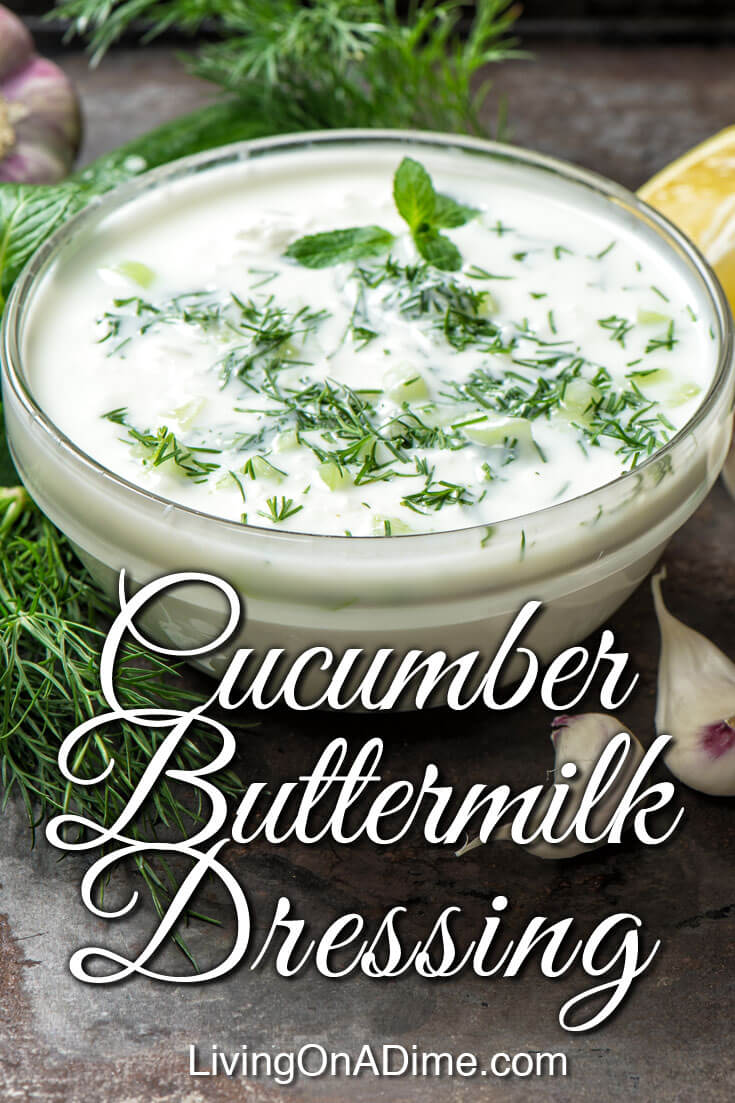 This creamy homemade cucumber buttermilk dressing recipe makes a yummy creamy salad dressing you're sure to love! The cucumber and buttermilk, along with the dill give it an especially tasty and light flavor. Try it today and you'll definitely be satisfied!