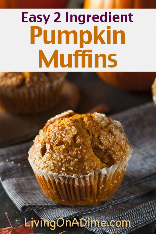 This easy 2 ingredient pumpkin muffins recipe is easy and yummy! It's a quick and easy treat especially great for this time of year and it's a great way to use pumpkin that you got on sale!