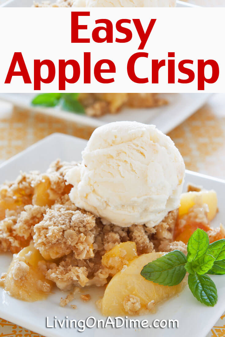 This easy apple crisp recipe is super easy to make and tastes amazing! This is my great grandma's apple crisp recipe and it's always a hit! Throw a little ice cream on top and get the perfect apple pie a la mode taste with just a fraction of the work!