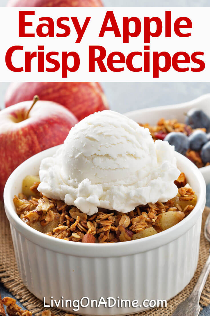These easy apple crisp recipes make cheap and tasty desserts that are quick and easy to make! These apple crisps and cobblers great for holiday parties or for a special treat and families and kids love them!