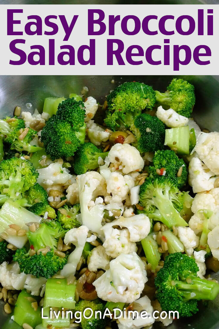 This easy broccoli salad recipe makes a healthy and tasty green salad! It's one of my family's favorites at Christmas and Thanksgiving, but it's also a great cool side dish in the summer-- and it's so easy to make!