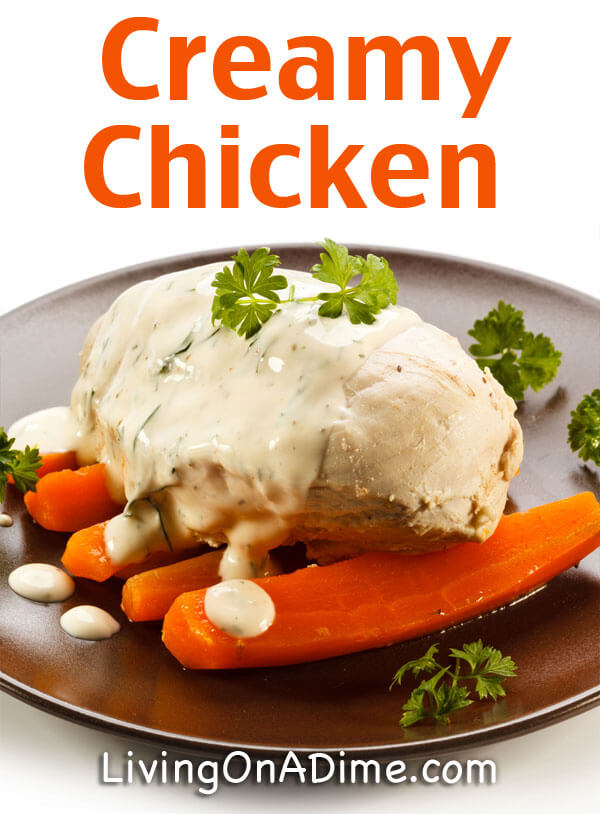 This creamy chicken recipe is an easy dinner recipe that you can make in the oven or the crockpot. Serve over rice, poratoes or your choice of vegetables. It takes just a few minutes to make and everyone will love it!