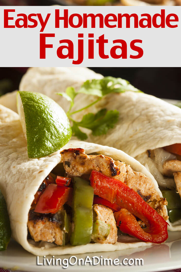 This easy homemade chicken fajitas recipe makes an easy $5 dinner recipe! It makes a tasty meal your family will love and is a great way to use leftover chicken, roast or steak.