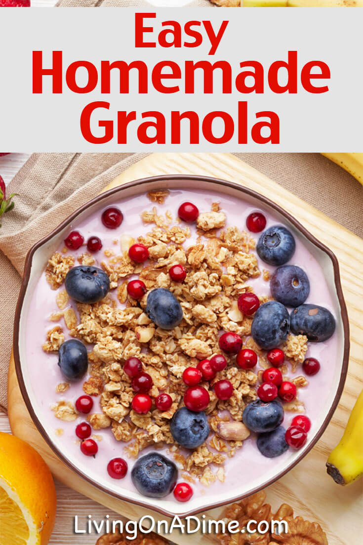 This easy homemade granola recipe is easy to make, super yummy and is less expensive than store bought granola. It's a tasty way to save on your food bill!