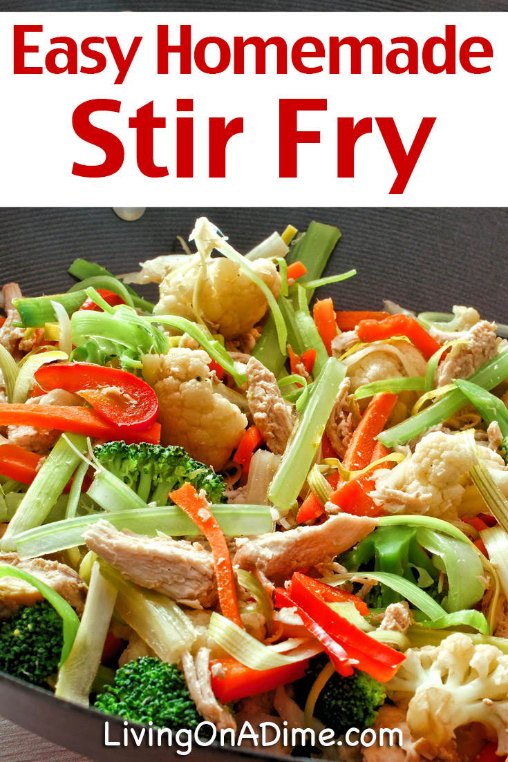 This easy stir fry recipe is a great way to use up all those leftovers! Just dump all your veggies in and cook. You can easily adapt this recipe to your preferences. Mike doesn't like peanut butter, so I leave it out. I can't eat soy sauce, so I leave it out and let everyone just add their own. You can also mix and match the ingredients in this recipe with what you have on hand and to reflect what you like to eat! Super easy and yummy!