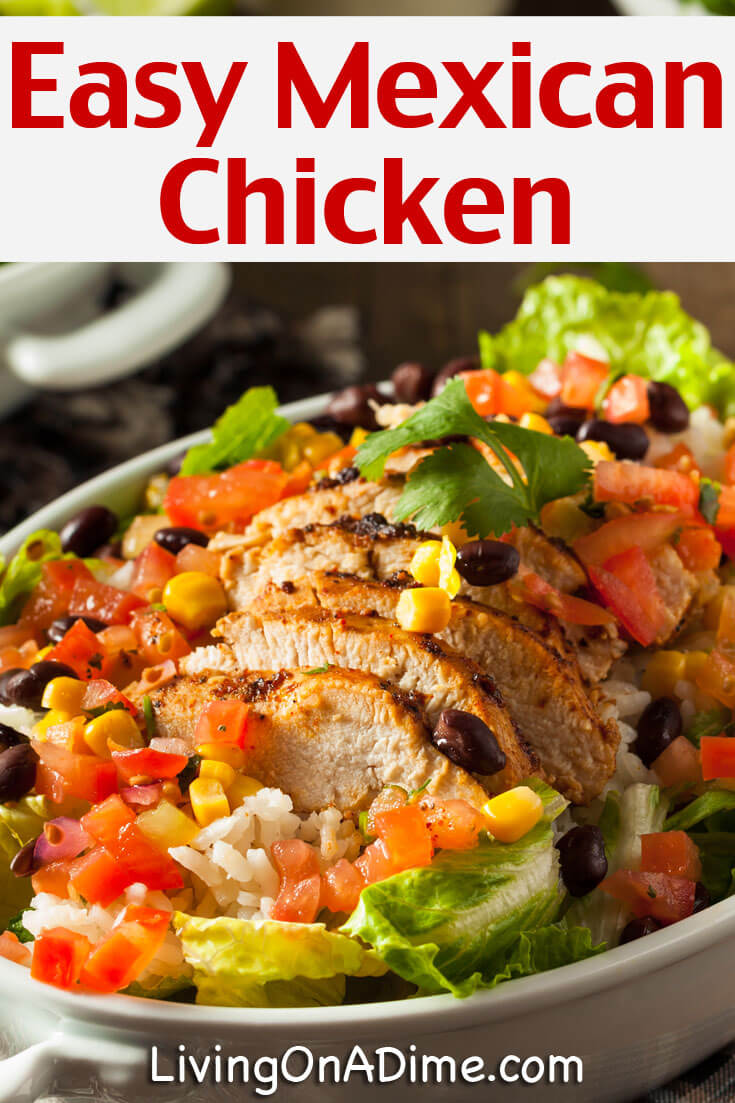This easy Mexican chicken  recipe makes an easy $5 dinner without a lot of extra work! Serve over rice and add a vegetable and you'll hav ea quick and easy meal for your family!