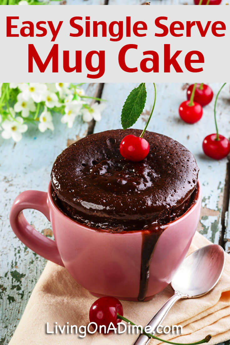 This easy single serve microwave mug cake recipe makes amazing individual little cakes that are ready to eat in one minute, without the fat and calories of regular cake!
