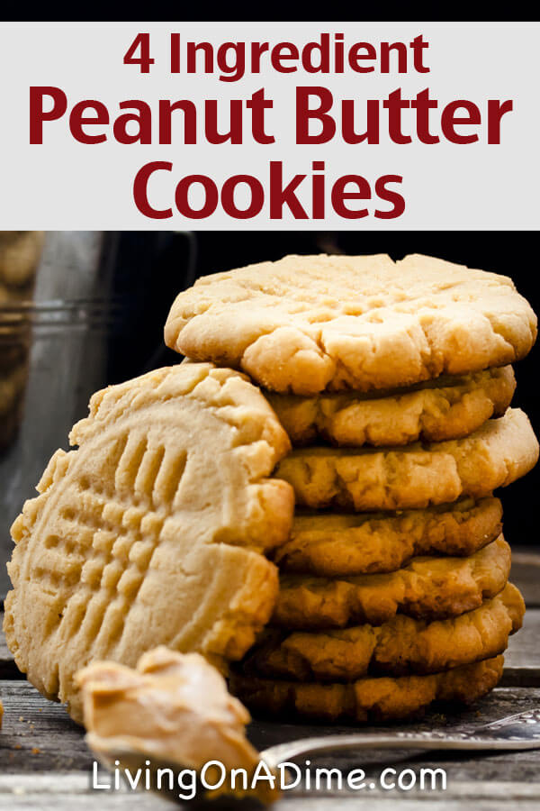 Here's an easy 4 ingredient peanut butter cookies recipe which makes a quick and easy snack for your kids or for unexpected company!