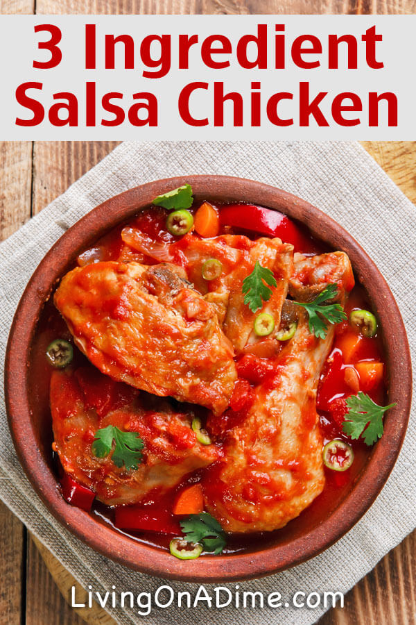 Easy 3 Ingredient Salsa Chicken Recipe - Easy 3 Ingredient Dinner ...