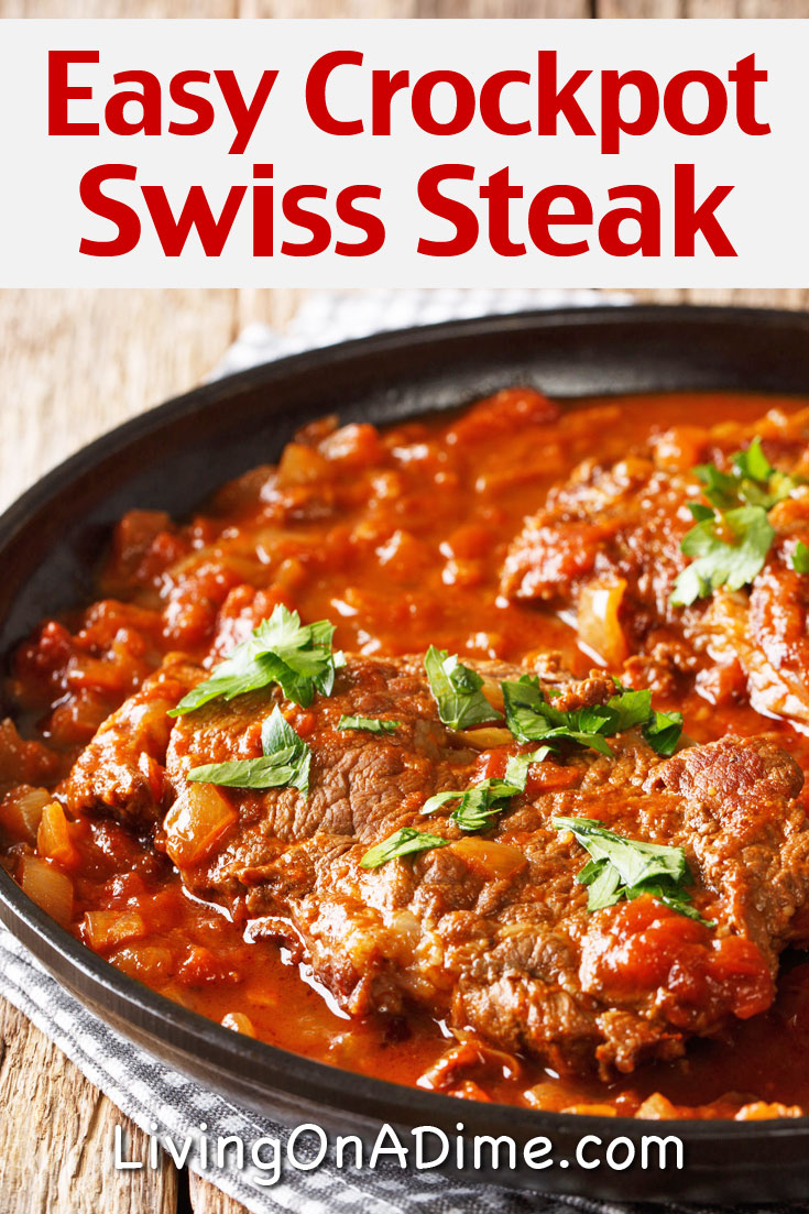 This easy Swiss Steak recipe makes a tasty meal that your family will love! It's easy to make in a skillet on the stovetop or in a crockpot! This post contains 2 Swiss steak recipes that can easily be cooked in the crockpot along with garlic green beans and coconut brownies!