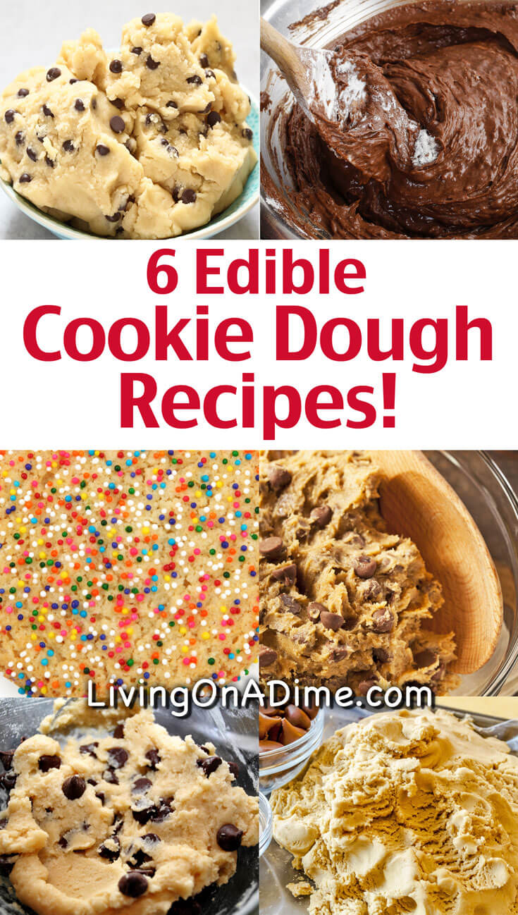 Here are 6 edible cookie dough recipes that are safe to eat because they are eggless cookie dough recipes! Whether you prefer chocolate chip cookie dough, peanut butter, Nutella or something else, you're sure to love these cookie dough recipes!