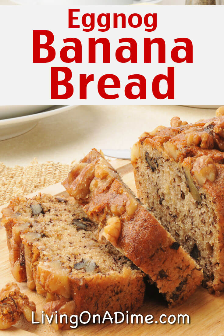 This eggnog banana bread recipe is a delicious way to use leftover eggnog and gives your banana bread a little extra kick!