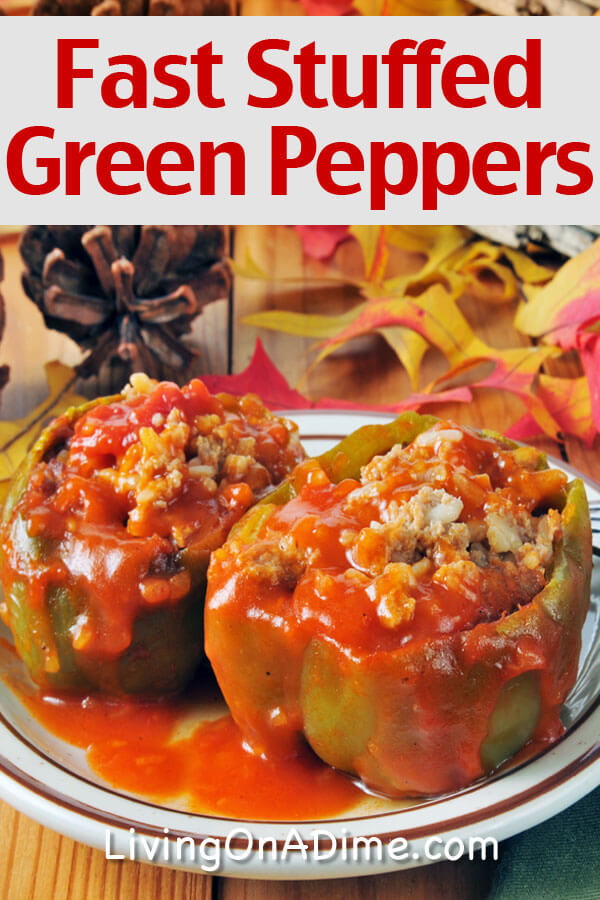 This fast stuffed green peppers recipe is a yummy recipe that only takes 5 minutes to prepare! Serve with salad or sliced fruit and a dinner roll for a super quick dinner!