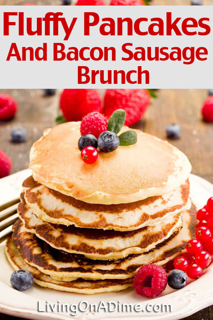 Brunch Menu  Fluffy Pancakes Recipe And Bacon Sausage Wraps