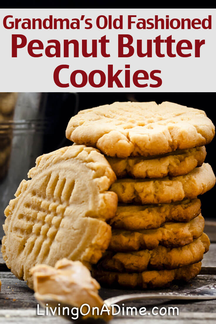 This old fashioned peanut butter cookies recipe is the homemade cookies recipe my great grandma and grandma made. They're super delicious and easy to make and your family will love them! Give these old fashioned peanut butter cookies a try! They're just like grandma's-- OK, they ARE grandma's, so everyone will rave about your cookies, too!