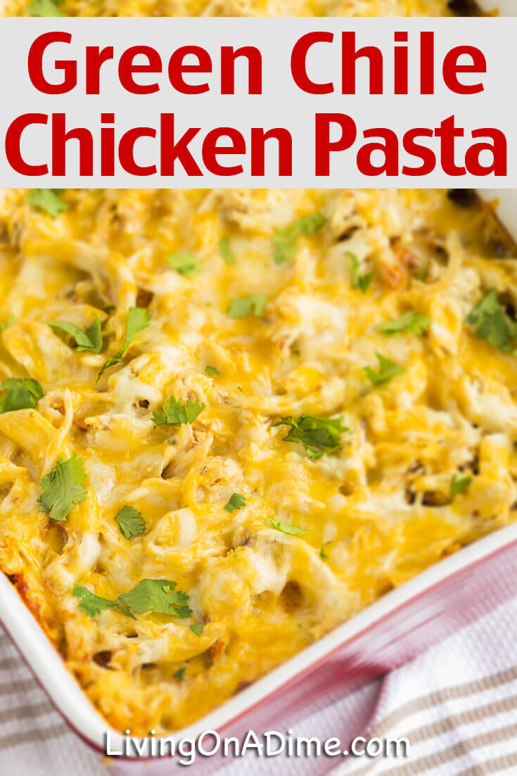 This Green Chili Chicken Pasta Recipe is a delicious and easy Mexican themed dish. It's an easy casserole with a different twist from a typical pasta dish.