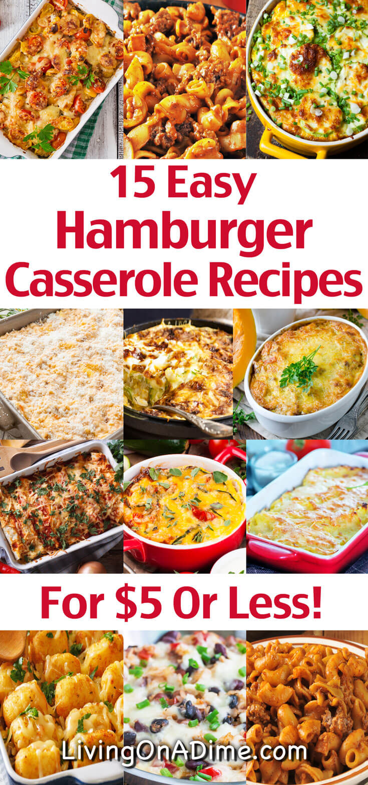 Here are 15 quick and easy hamburger casserole recipes to make dinner a snap! You'll find lots of variations on traditional hamburger casserole that the entire family will love and you'll be in and out of the kitchen fast!