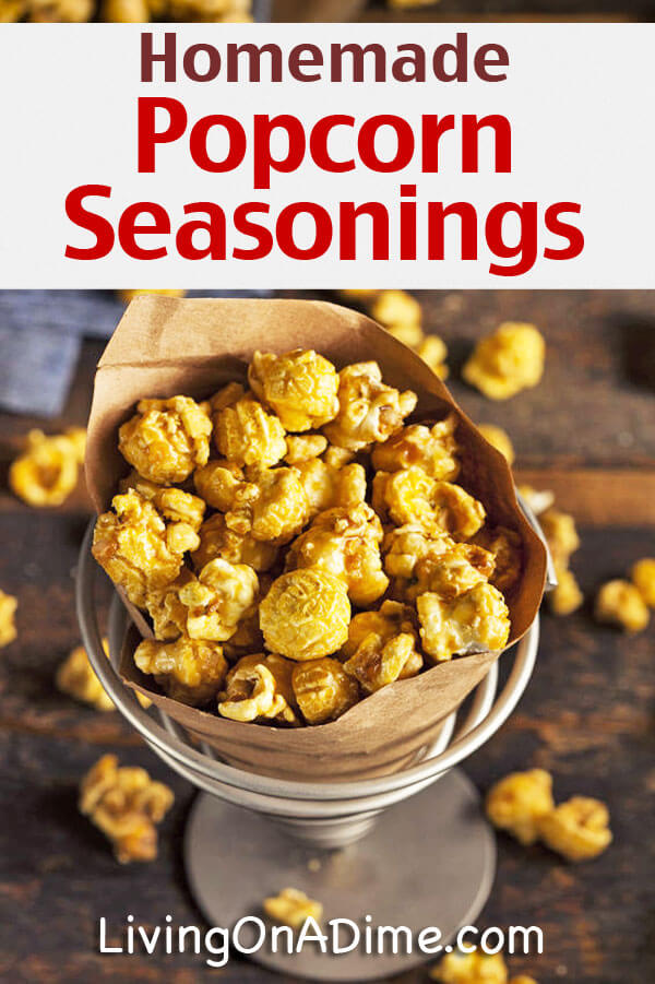 Here are some yummy homemade popcorn seasonings and popcorn recipes including kettle corn and other variations that are a lot cheaper than store bought!