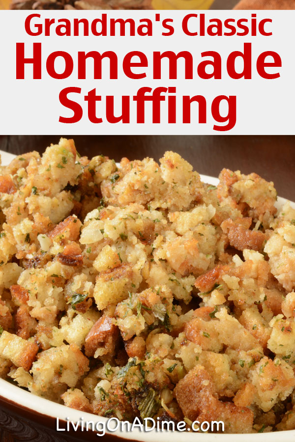 This is my grandmother's classic stuffing recipe! This is a yummy Thanksgiving traditional stuffing recipe made with bread, sausage and more and everyone loves it!