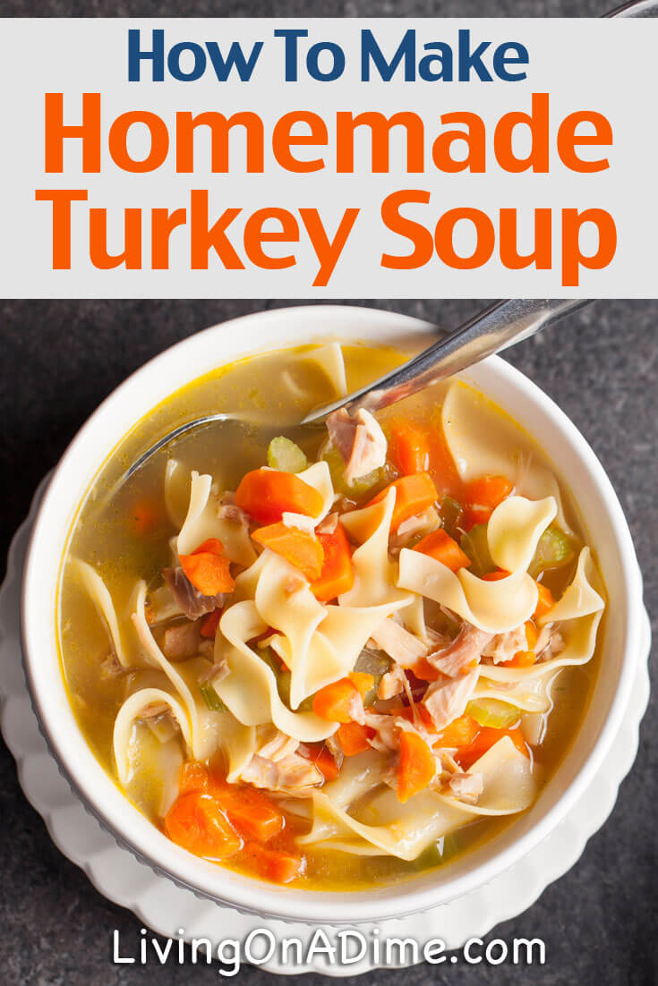 Here's a basic homemade turkey soup recipe. It's super easy to make, great for cool days and a great way to use leftover turkey!