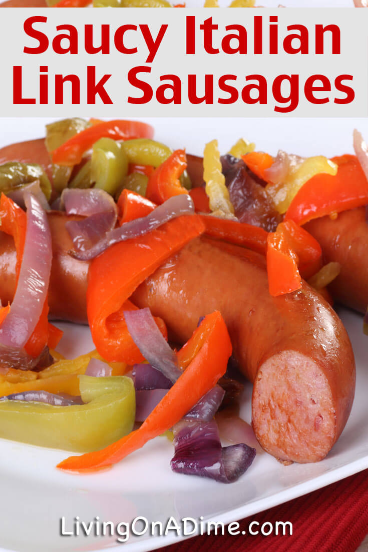 This delicious saucy Italian link sausages recipe makes a quick and easy easy crockpot meal! This post also includes an easy meal plan and a recipe for a yummy homemade Greek salad!