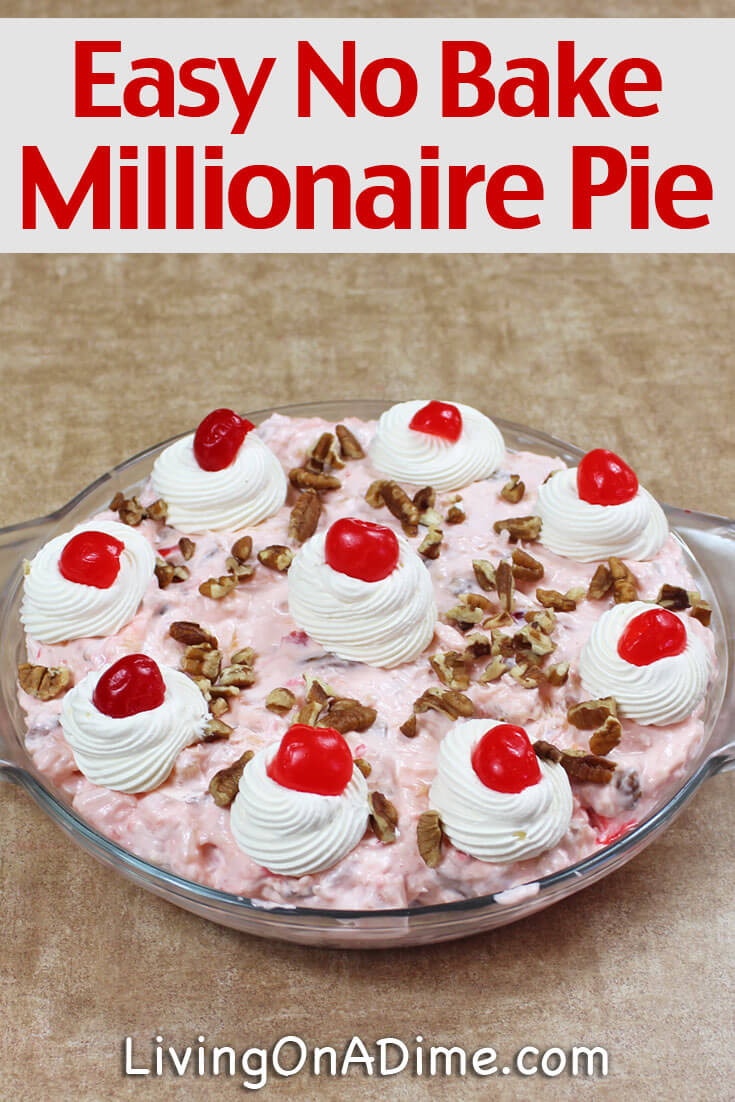 This Millionaire Pie recipe is from the 1950's and has been a HUGE hit for years!! Once you make this, you will never turn back to a plain pie! To say it is divine is an understatement! My grandmother used to make this all the time and it was ALWAYS the first dessert gone!