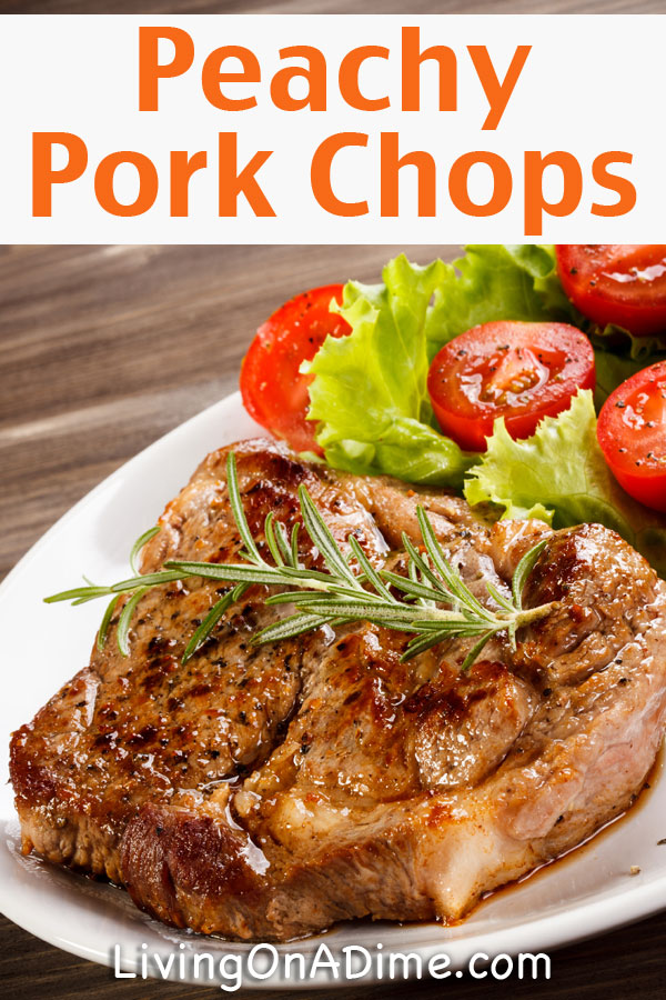 This Peachy Pork Chops Recipe from our cookbook is delicious and easy to prepare. The peach sauce complements the pork chops nicely! Combine it with the yummy veggie salad and you have a perfect family meal plan under $5!