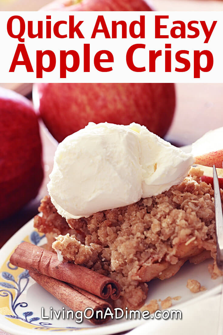 Here's a delicious quick and easy apple crisp recipe. Apple crisp is a yummy family favorite and a great alternative to apple pie when you just don't have enough time to put a complete pie together. Just keep the ingredients in your pantry for a fast dessert when unexpected company shows up.