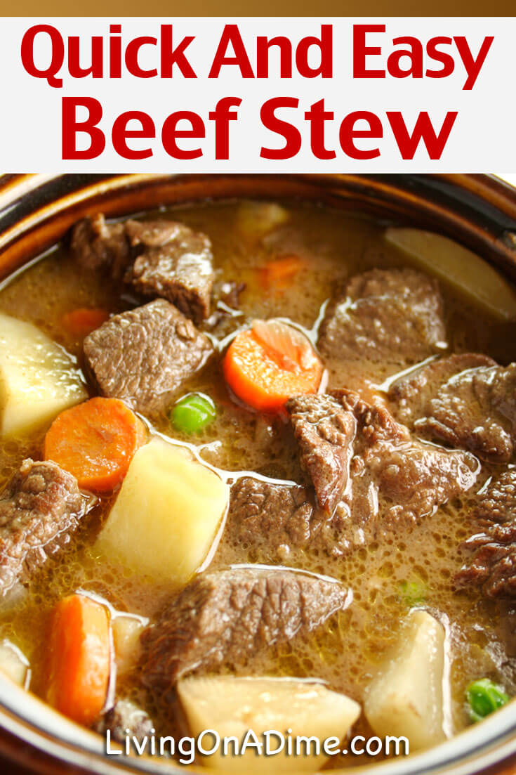 This quick and easy beef stew recipe is mom's beef stew recipe and it is the best beef stew you will ever eat! Every time I make it, everyone raves about how great it is. It's so great we hardly ever have leftovers! If you need a quick and easy meal to put in the crockpot or on the stove to simmer, this is the recipe for you!!