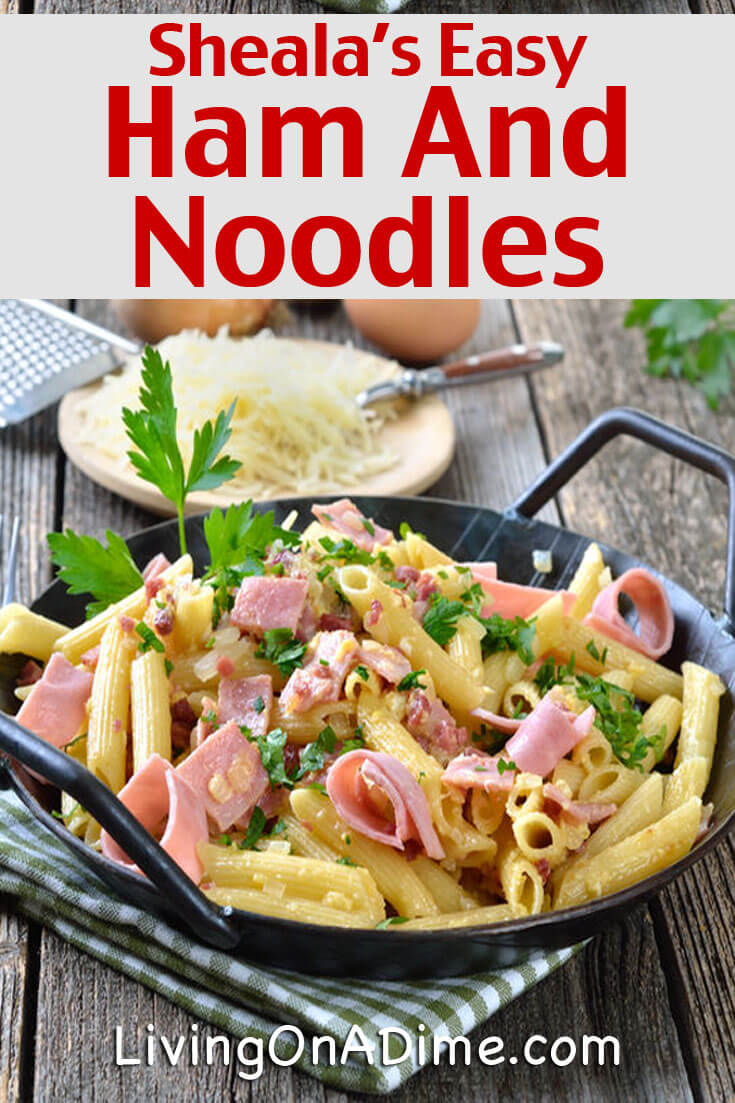 This easy ham and noodles recipe is a quick and easy recipe that kids and families love! It's a great way to use leftover ham! Keep some ham in the freezer just to use for easy recipes like this and it'll be even quicker!