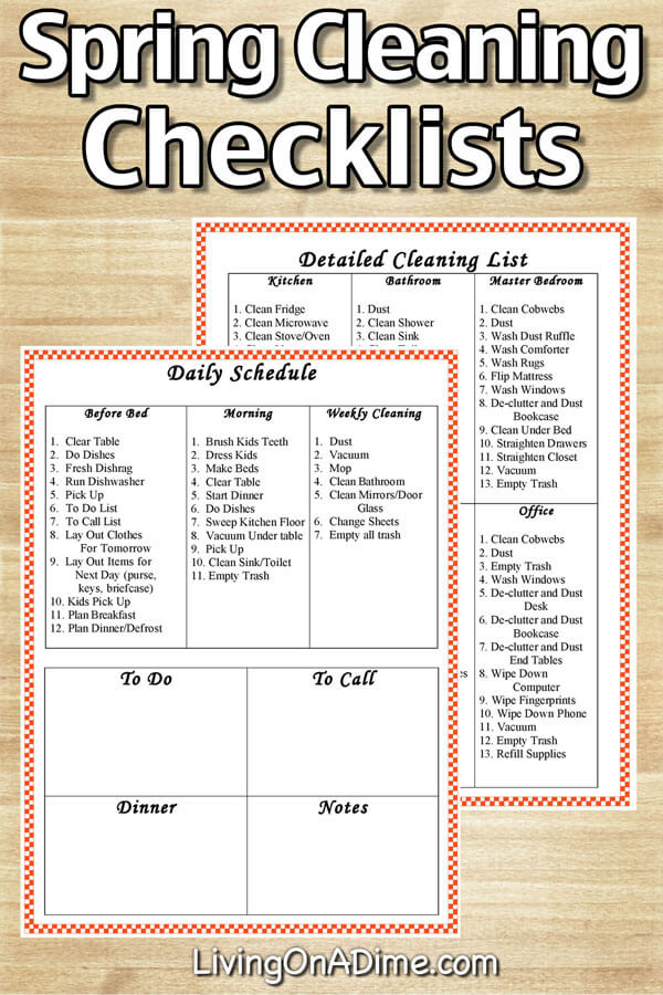 Easy Spring Cleaning Checklists, To Do Lists And Schedules