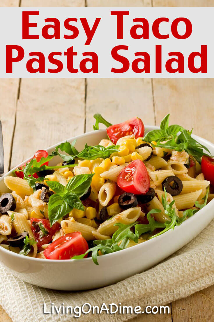 This easy taco pasta salad recipe makes an easy and tasty one dish meal. It's a great way to use leftover meat and veggies, too!