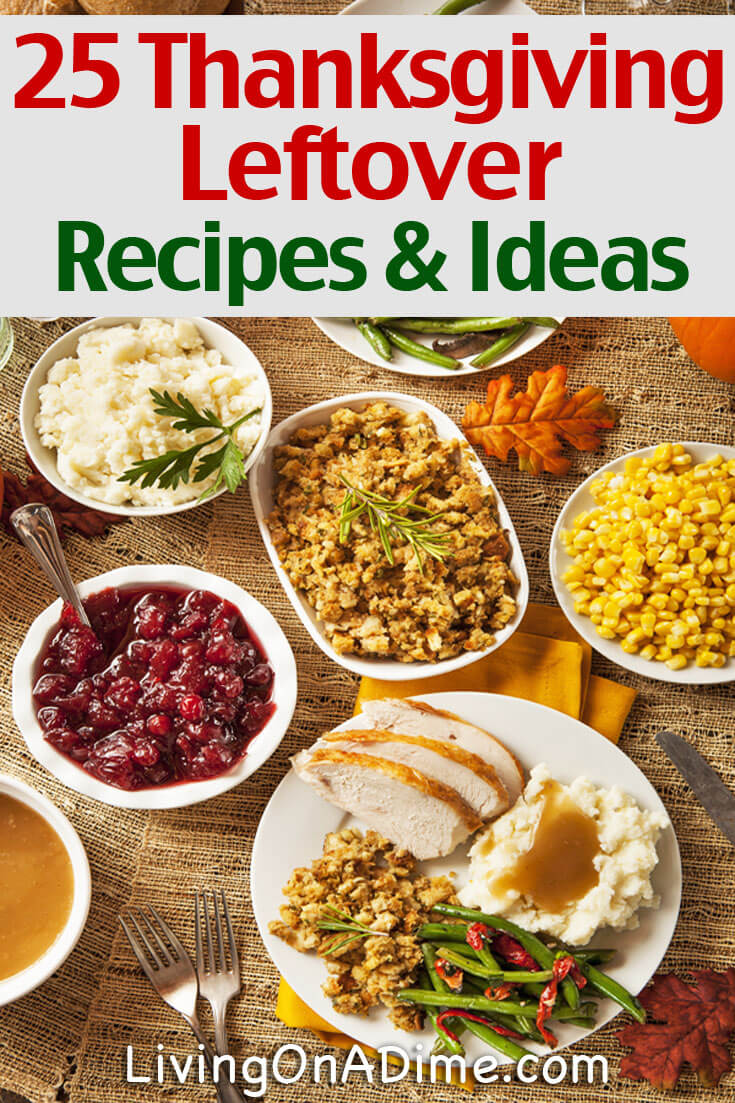 Here are 25 yummy Thanksgiving leftover recipes and ideas so you don't waste any Thanksgiving leftovers! Great uses for leftover turkey, stuffing and more!