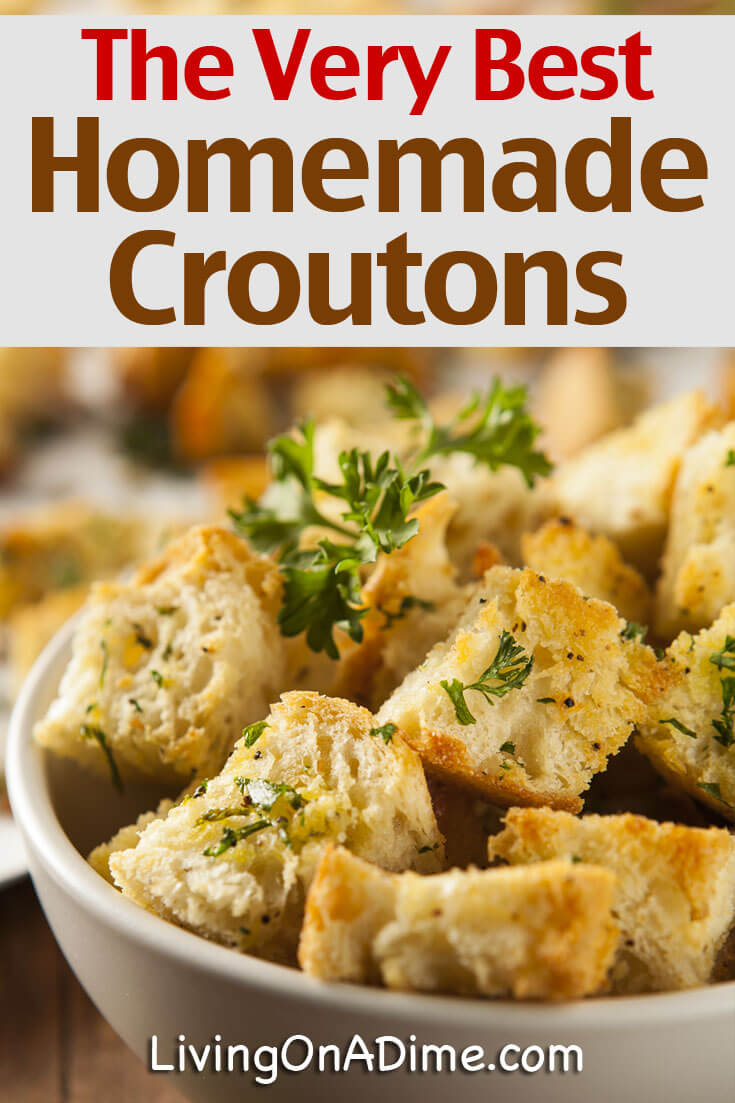 This is the best homemade croutons recipe! It makes the most yummy croutons and is a tasty way to use leftover bread! This post also has some great tips for reducing food waste and saving money on bread!