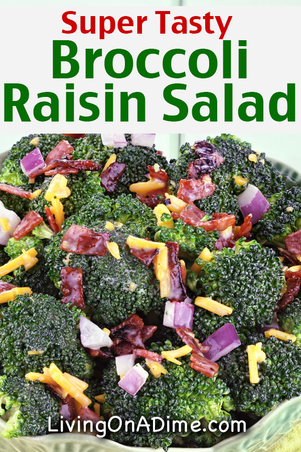 This easy broccoli raisin salad recipe makes a super tasty broccoli salad that is sure to please! This is my favorite broccoli raisin salad! My family and I love this broccoli salad! We make it as part of our holiday buffets and it is also a favorite when we bring to a party or get together!